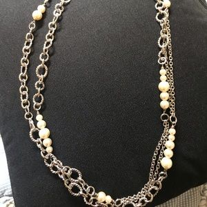 Silver Pearls and Link 58 inches Long Necklace
